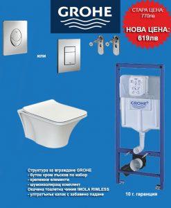 Промо комплект структура GROHE с окачена тоалетна IMOLA RIMLESS