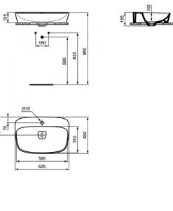 Мивка за монтаж върху плот Ideal Standard DEA T0445