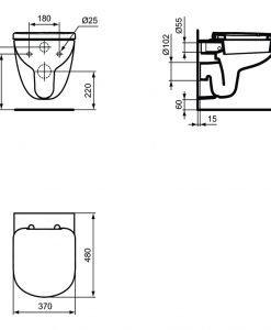 Компактна конзолна тоалетна с капак Soft Close Ideal Standard Tempo T3288
