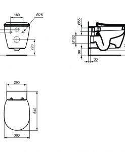 Окачена тоалетна с капак Soft Close Ideal Standard  CONNECT E7718