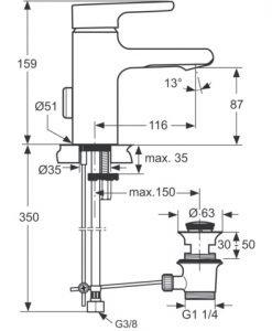 Смесител за умивалник с WATERFULL аератор IDEAL STANDARD ATTITUDE A4598AA
