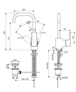 Смесител за умивалник с удължен тръбен чучур и метален изпразнител IDEAL STANDARD CERAPLAN 3 B0706AA
