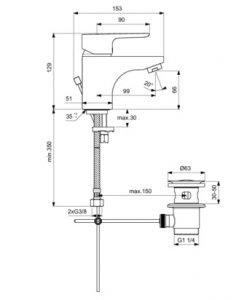 Смесител за умивалник стоящ с метален изпразнител IDEAL STANDARD CERAPLAN 3 B0700AA