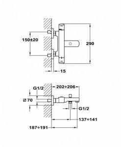 Термостатен смесител за вана и душ Teka Formentera Б.186