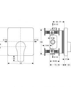 Вграден смесител за душ Ideal Standard ATTITUDE A4757AA