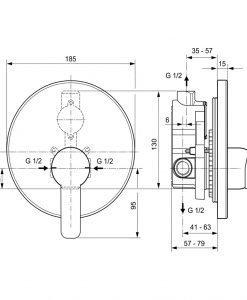 Вграден смесител за душ Ideal Standard GIO A6108AA