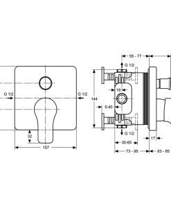 Вграден смесител за вана/душ Ideal Standard ATTITUDE A4758AA