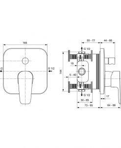 Вграден смесител за вана/душ Ideal Standard CERAPLAN III A6115AA