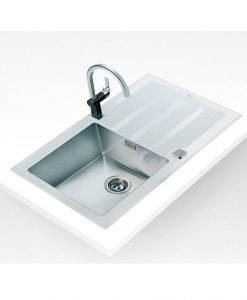 Кухненска мивка Maestro бяло стъкло Teka LUX 1B 1D 86