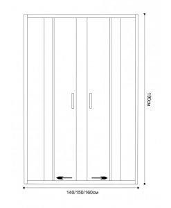 Стъклен преграден параван за баня S160