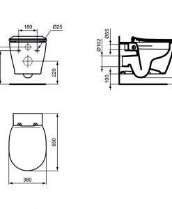 Kонзолна тоалетна чиния Ideal Standard Connect без ринг Е8174