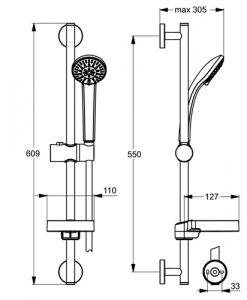 Душ комплект IDEALRAIN SOFT с трифункционален ръчен душ S3