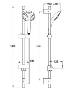 Душ комплект IDEALRAIN SOFT XL1 тръбно окачване 900 мм