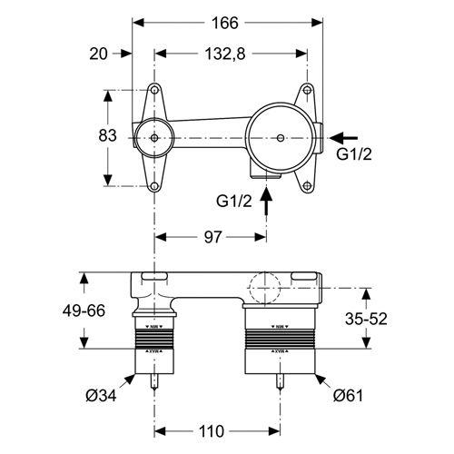 Комплект за вграждане - комплект 1 - A5948NU размери