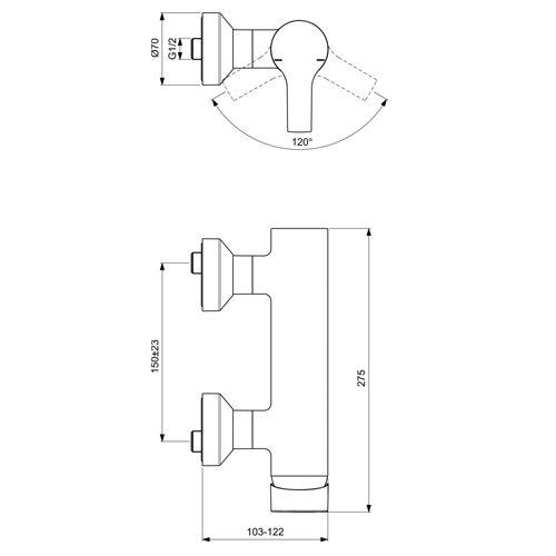 Стенен смесител ACTIVE за душ размери