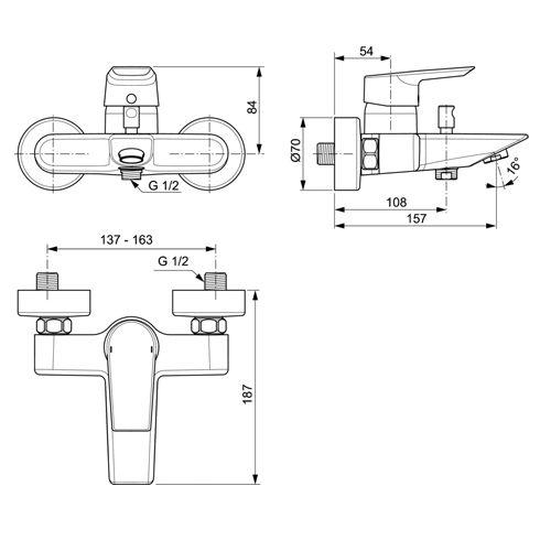 Стенен смесител TESI за вана и душ размери