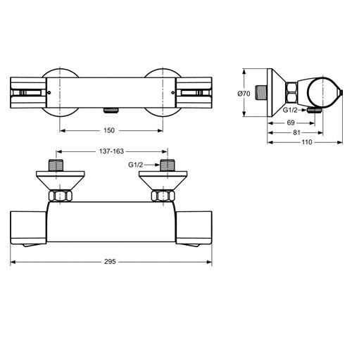 Стенен термостатен смесител ACTIVE за душ размери