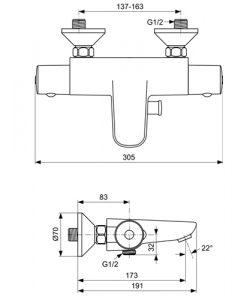 Термостатен стенен смесител CERATHERM 50 за вана и душ