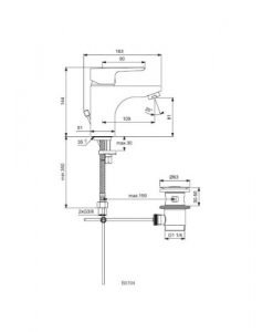 Смесител стоящ за умивалник с изпразнител IDEAL STANDARD GRANDE CERAPLAN III B0704