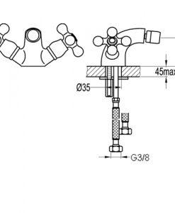 Двуръкохватков смесител за биде BS8511