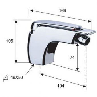Едноръкохватков смесител за биде A20 размери