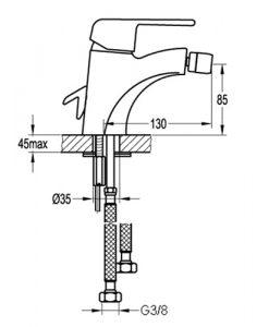 Едноръкохватков смесител за биде BS8502