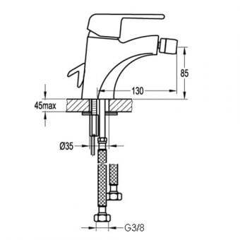 Едноръкохватков смесител за биде BS8502 размери