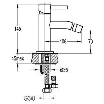 Едноръкохватков смесител за биде BS8508 размери