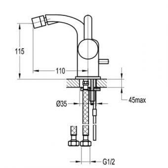 Едноръкохватков смесител за биде BS8560 размери
