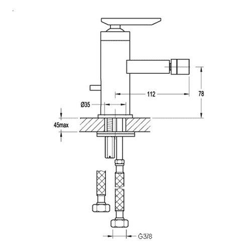 Едноръкохватков смесител за биде BS856126 размери