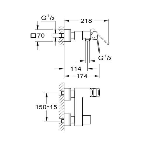 Едноръкохватков смесител за душ GROHE EUROCUBE 23145000 размери