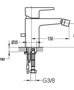 Стоящ смесител за биде BS8569 размери