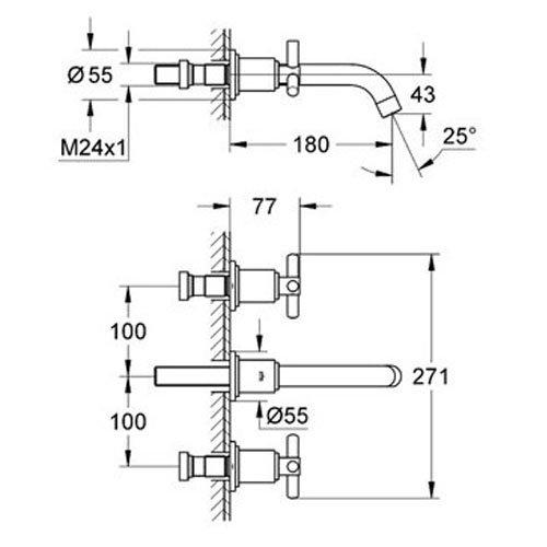 Тридупков смесител GROHE ATRIO 20164000 размери