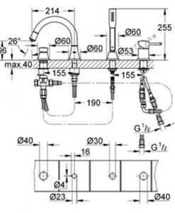 Четиридупкова комбинация за вана GROHE GRANDERA 19936000