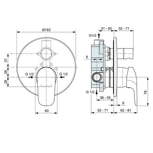 Вграден смесител за вана и душ CERAFLEX A6758AA размери