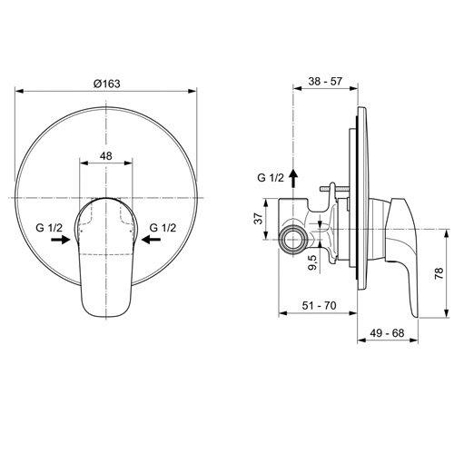 Вграден смесител за душ CERAFLEX A6757AA размери
