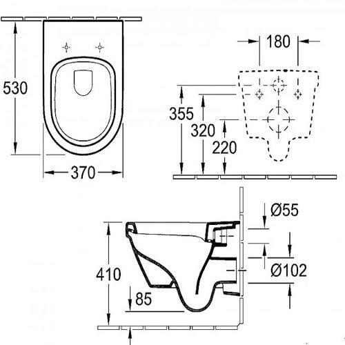 Окачена тоалетна VILLEROY & BOCH Omnia Architectura с капак със забавено падане размери