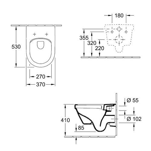 Окачена тоалетна VILLEROY & BOCH Omnia Architectura DirectFlush размери