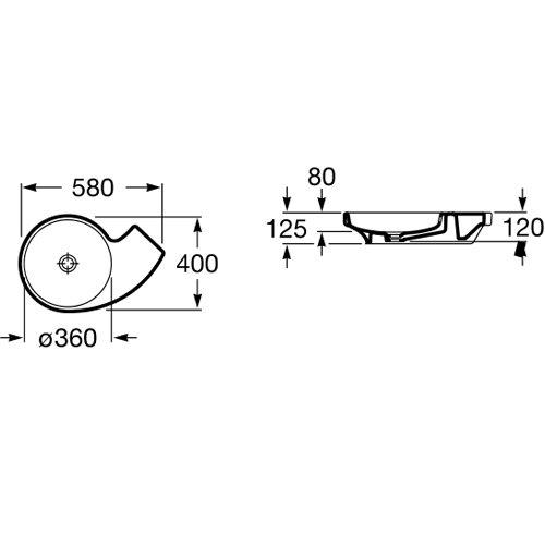 Порцеланов умивалник върху плот URBI 3 A327228000 размери