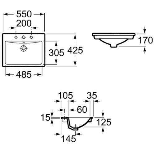 Порцеланов умивалник за вграждане в плот DIVERTA A327116000 размери