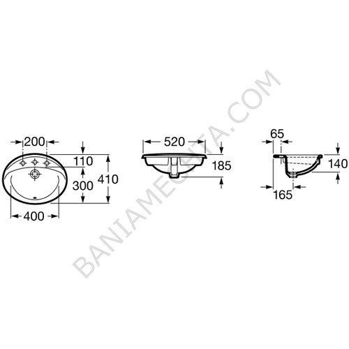 Порцеланов умивалник за вграждане в плот RODEO A327866000