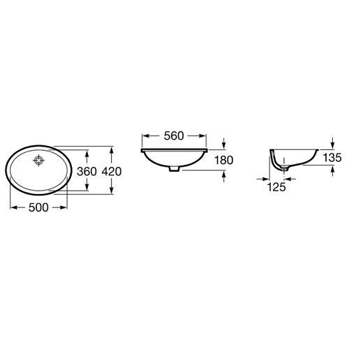 Порцеланов умивалник под плот BERNA A327871001 размери