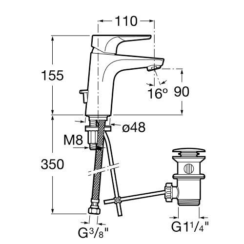 Смесител за умивалник със Cold Start ATLAS A5A3090C00 размери