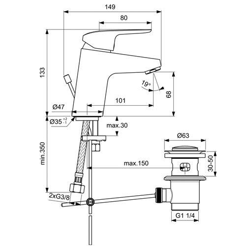 Стоящ смесител за мивка с метален изпразнител CERAFLEX B1708AA размери