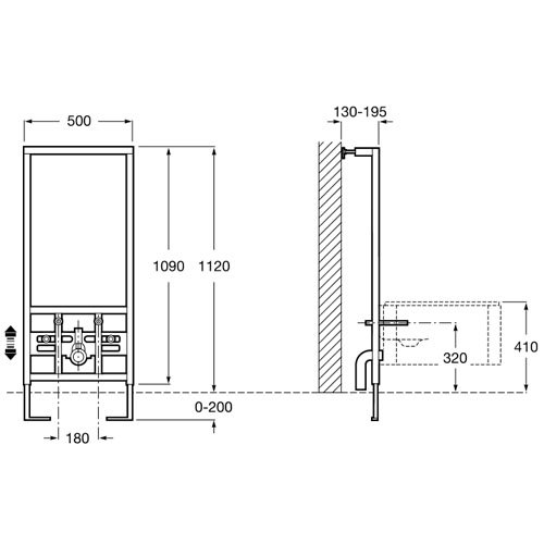 Структура за вграждане DUPLO биде IN WALL A890091000 размери