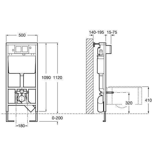 Структура за вграждане DUPLO WC IN WALL A8900900K размери