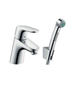 Ръкохватков смесител за мивка Focus с ръчен душ биде и маркуч 160 см 31926000
