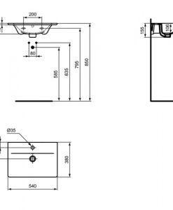Мивка за мебел 54 см CONNECT AIR E0296