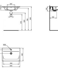 Мивка за мебел 64 см CONNECT AIR