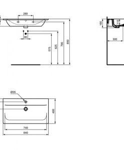 Мивка за мебел 84 см CONNECT AIR